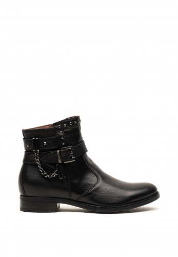 Nero Giardini Leather Stud Chains and Buckle Ankle Boots, Black