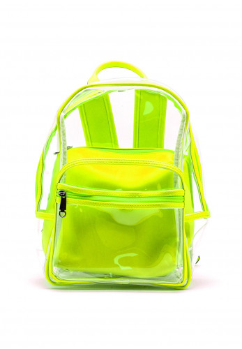 Zen Collection Neon Retro Clear Backpack, Green