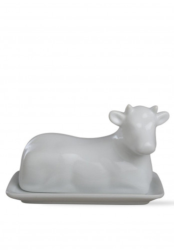 Newbridge Whiteware Cow Butterdish, White