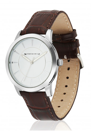 Newbridge Men's Brown Leather Strap Watch, Silver