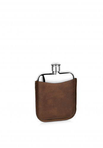 Newbridge Stainless Steel Hip Flask with Leather Sleeve