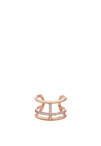 Newbridge Rose Goldplate With Clear Stones Ring, Rose Gold
