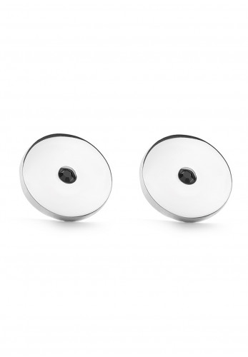 Newbridge Round Black Stone Cufflinks, Silver
