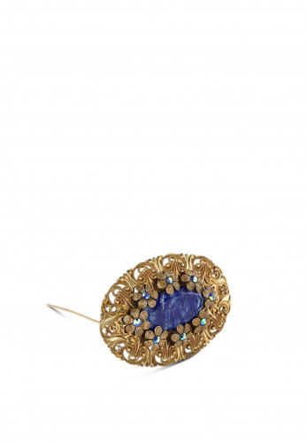 Newbridge Oval Brooch with Blue Stone Settings, Gold & Blue