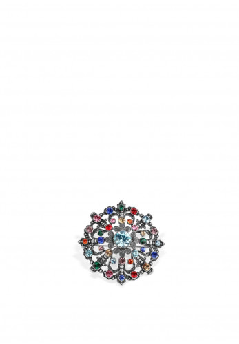 Newbridge Vintage Brooch with Multi-Coloured Stone Settings, Multi-Coloured