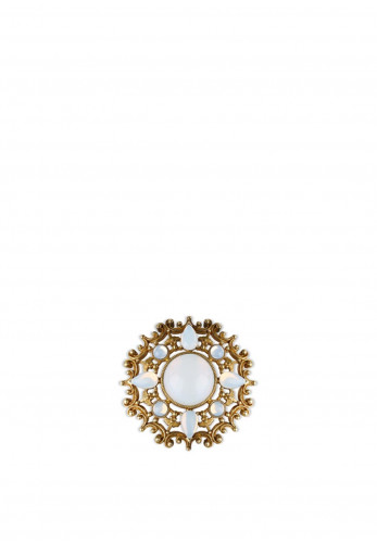 Newbridge Round Brooch with Opal Coloured Stone Settings, Gold