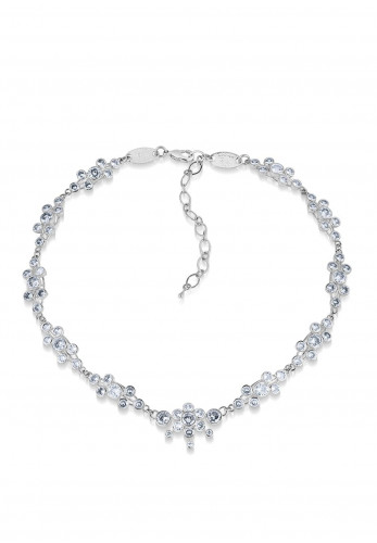Newbridge Cluster Floral with Clear Stones Necklace, Silver