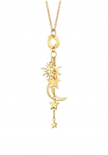 Newbridge Amy Sun and Moon Charm Necklace, Gold