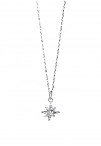 Newbridge Embellished Star Pendant Necklace, Silver