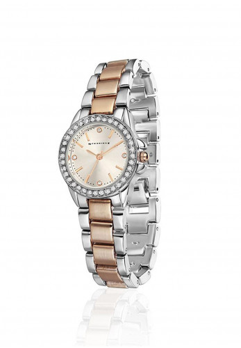 Newbridge Two Toned Round Face Watch, Silver & Rose Gold