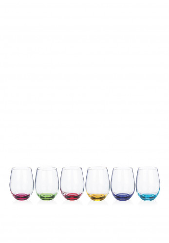 Newgrange Living Set of 6 Rainbow Stemless Wine Glasses