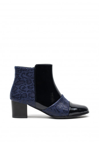 Redz Faux Patent and Snake Print Chucky Block Heel Boots, Navy