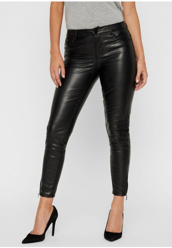 Noisy May Kimmy Skinny Faux Leather Trousers, Black