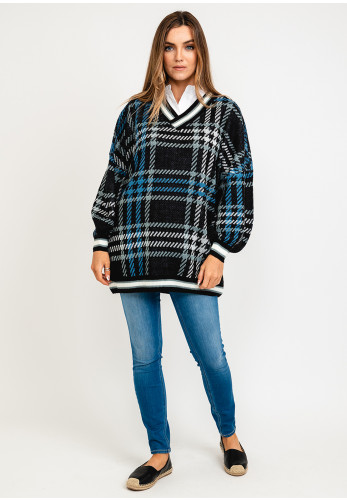 Noisy May Lucy Check Knit Tunic Jumper, Blue Multi