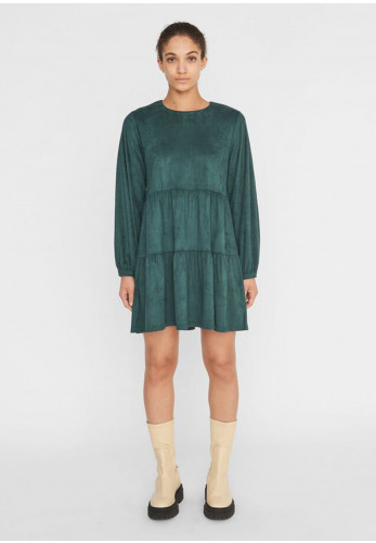 Noisy May Halo Faux Suede Dress, Green