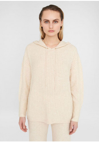 Noisy May Mally Soft Knitted Hoodie, Cream