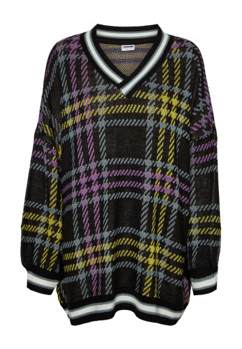 Noisy May Lucy Check Knit Tunic Jumper, Black Multi