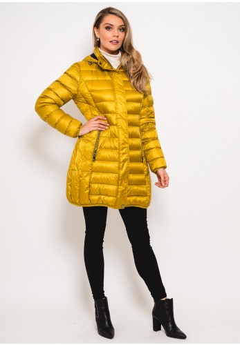 Normann Down & Feather Padded Quilted Coat, Mustard