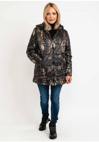Normann Abstract Print Mid Length Padded Coat, Black Multi