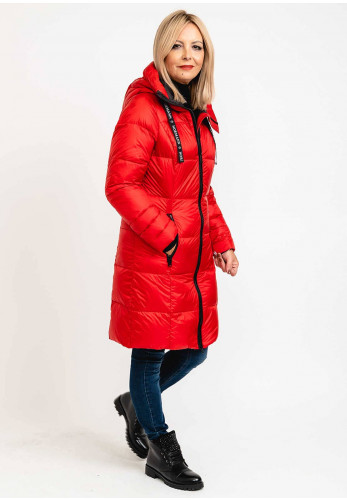 Normann Sporty Finish Down Filled Padded Long Coat, Red