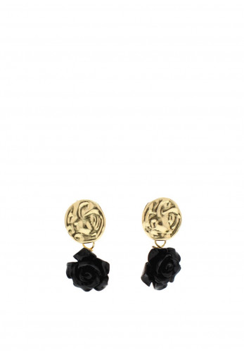 Nour London Black Rose Drop Earrings, Gold