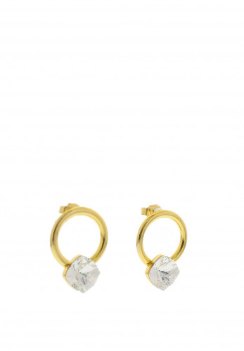 Nour London Circle with Square Swarovski Crystal Earrings, Gold