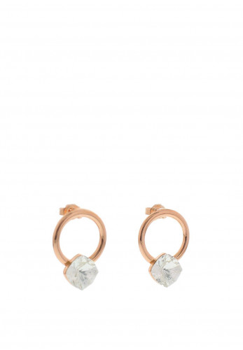 Nour London Circle with Square Swarovski Crystal Earrings, Rose Gold
