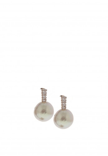 Nour London Cream Pearl Drop Earrings, Rose Gold