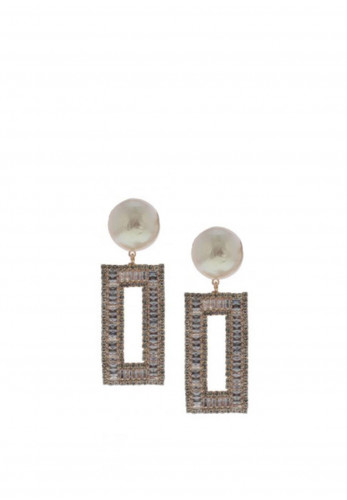 Nour London Cream Pearl Rectangular Drop Earrings, Rose Gold