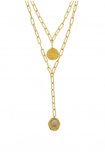 Nour London Double Layered Coin Necklace, Gold