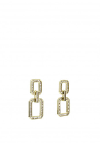 Nour London Double Square Cubic Zirconia Stones Earrings, Gold