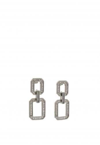 Nour London Double Square Cubic Zirconia Stones Earrings, Silver