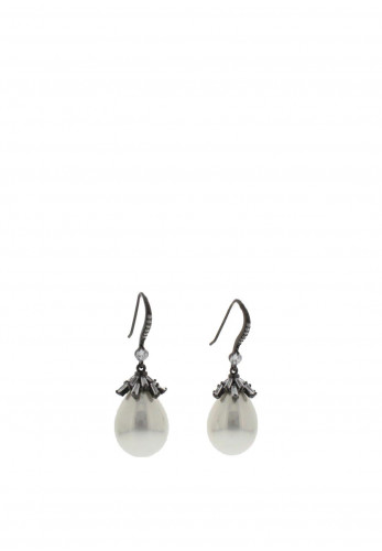 Nour London White Glass Pearl Tear Drop Earrings, Black