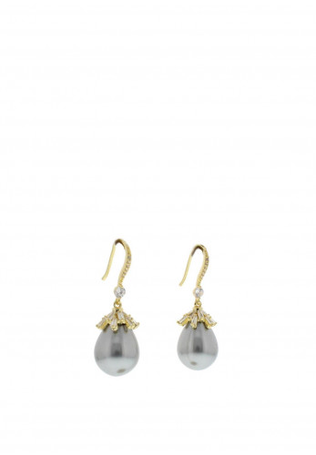 Nour London Grey Glass Pearl Tear Drop Earrings, Gold