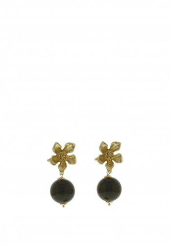 Nour London Gold Flower Resin Ball Earrings, Green
