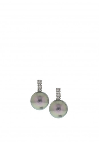 Nour London Grey Pearl Drop Earrings, Silver