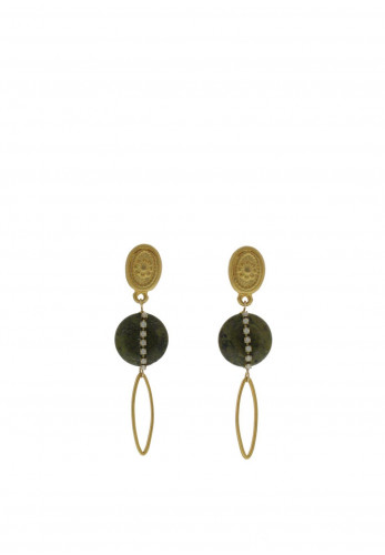 Nour London Matt Gold Long Drop Earrings, Green
