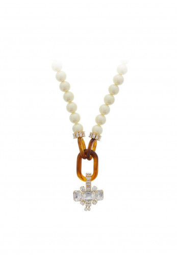 Nour London Pearl Oval Brown Resin Statement Necklace, Gold