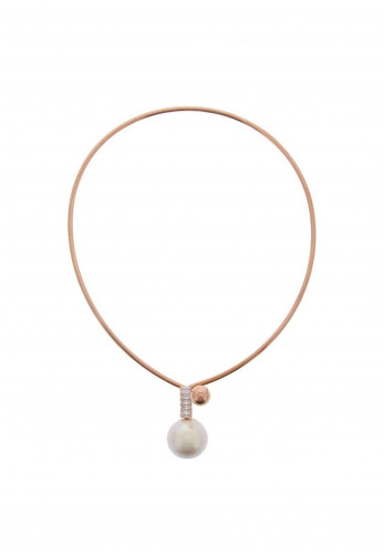 Nour London Crystal & Pearl Drop Wire Necklace, Rose Gold