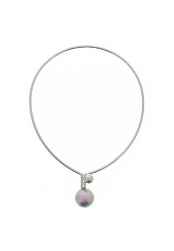Nour London Crystal & Pearl Drop Wire Necklace, Silver