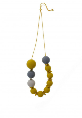 Nour London Lime Green & Grey Beaded Necklace
