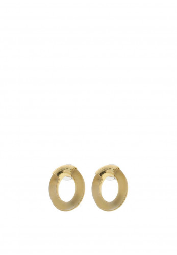 Nour London Resin Oval Earrings, Gold