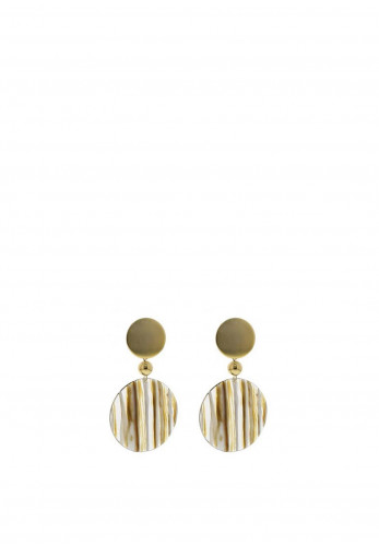 Nour London Stripe Effect Resin Drop Earrings, Gold