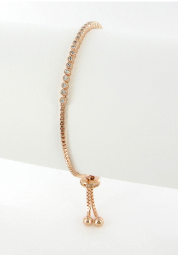Nour London Small Round Cut Crystal Bracelet, Rose Gold