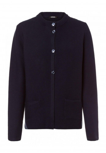 Olsen Ribbed Button Front Long Cardigan, Navy
