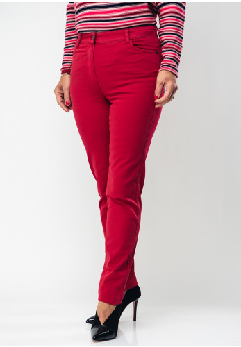 Olsen Mona Slim Fit Cotton Jeans, Washed Red