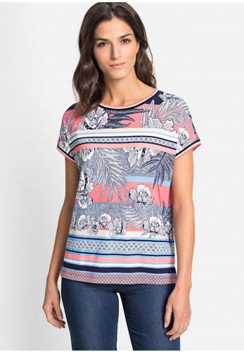Olsen Floral and Stripe Short Sleeve T-Shirt, Coral Multi