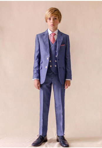 One Varones Woven Three Piece Suit, Blue