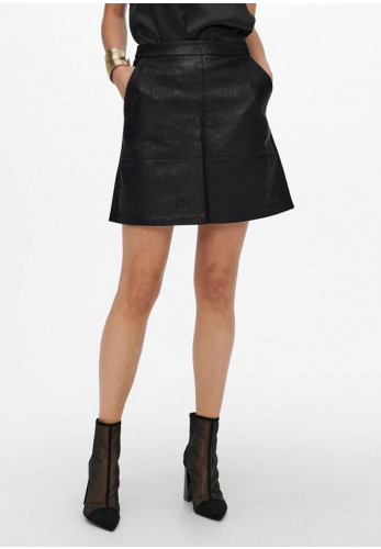 Only Lisa Faux Leather Skirt, Black
