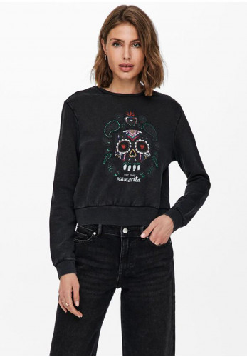 Only Lucinda Life Mexi Print Sweater, Black Multi